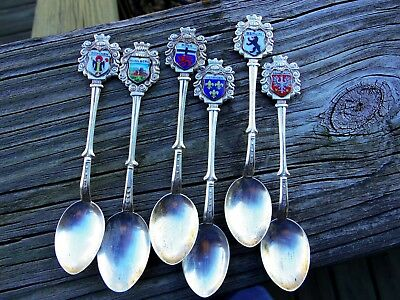 Antique 800 Solid Silver Enamel Germany Souvenir Spoons Set 6 Major Cities