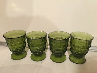 Indiana Glass Green Whitehall Colony Footed Set Of 4 Tumblers Glasses