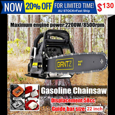 "22""Giantz 58cc Commercial Petrol Chainsaw Bar E-Start Chain Saw Tree Pruning NEW"