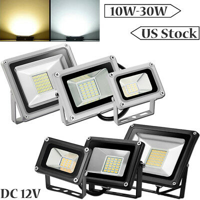 10W 20W 30W DC 12V Led Flood Light Garden Lawn Outdoor Lighting Fixtures IP65 US
