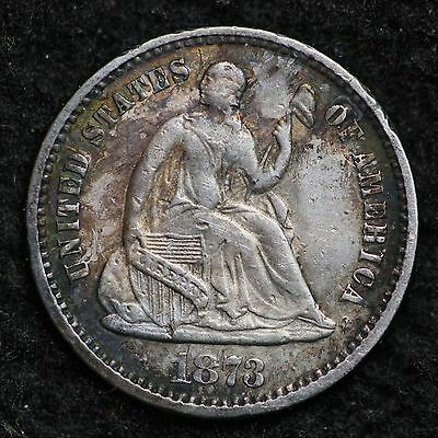 1873 Seated Liberty Half Dime  CHOICE AU FREE SHIPPING E164 ACL