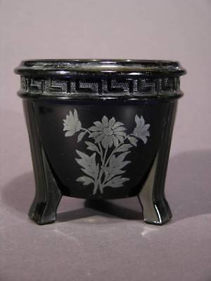 Art Deco Black Glass Rose Bowl, Floral Silver Overlay, Footed, L.E. Smith Co.