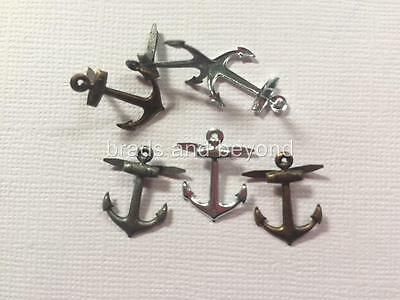 BRADS ANCHORS METALLIC pk of 6 ship boat cruise scrapbooking split pin