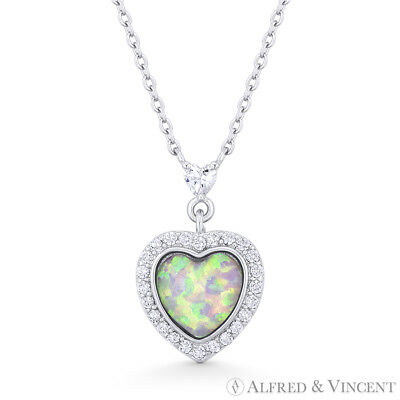 Pink Lab-Opal CZ Crystal 925 Sterling Silver Heart Pendant Love Charm & Necklace
