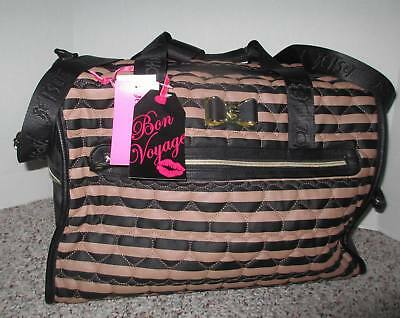 Betsey Johnson Luggage Large Carry On Weekender Bag Purse Be Mine Quilted Hearts
