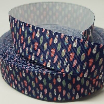 Grosgrain Ribbon - 1 Inch - 25 mm - Print by the Metre - Feathers