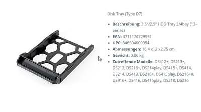 Synology Disk Tray Type D7- HDD-Einschub