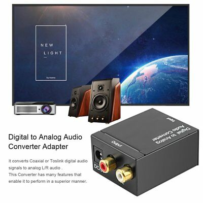 Digital Optical Coaxial Toslink Signal to Analog Audio Converter Adapter RCA