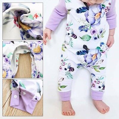 Newborn Baby Girl Floral Cotton Romper Bodysuit Jumpsuit Playsuit Clothes Outfit