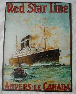 dekoratives Blechschild - Red Star Line - Anver le Canada - Schiff -  TK120-1218