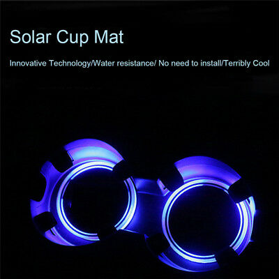 2PC Solar Energy Cup Pad Car Accessories LED Light Interior Decoration Skidproof