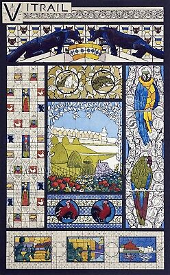 Panthers & Parrots Art Nouveau Stained Glass Counted Cross Stitch Pattern Birds