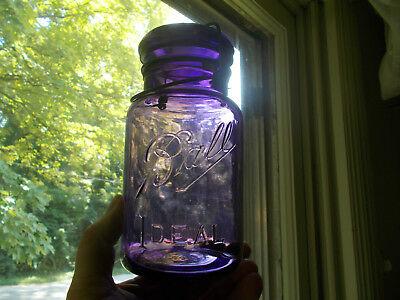 Amethyst Purple Ball Ideal Antique Qt Fruit Jar Over 100 Yrs Old W/clamp & Lid