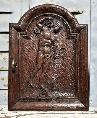 Ciceron the fortune is blind Antique french carved wood cabinet tabernacle door