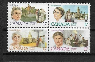 pk37486:Stamps-Canada #879i Feminists 17 cent Pink Brooch Variety Block of 4-MNH