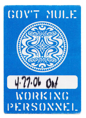 Gov't Mule Backstage Pass - 2006 Tour