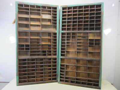 """2 Antique 32 1/2"""" x 16 3/4"""" x 1 1/2"""" Wooden Printer's Drawers/Trays #2"""