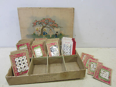 Vintage Mother of Pearl Button Assortment on Cards w/Original Cabinet Box