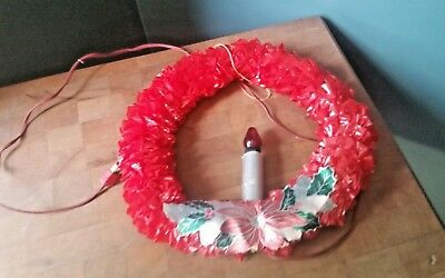 "Red Cellophane Electric Christmas Holiday Window 12"" Wreath Vintage"