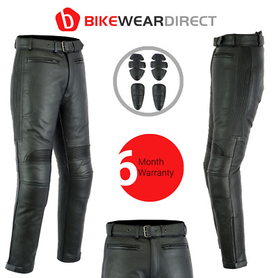 Leather Motorbiker Motorcycle Trousers Jeans Pants Black Tour Mens CE Armoured
