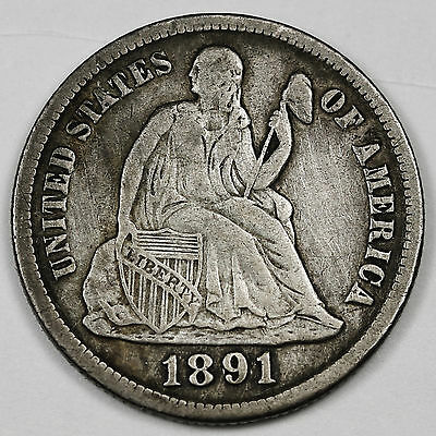 1891-s Liberty Seated Dime.  V.F.  95617