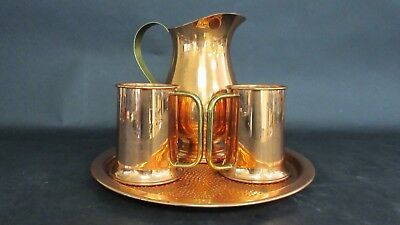 Solid Copper CG Set Pitcher 2 Mugs and Plate