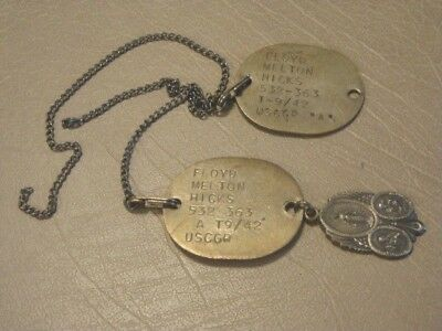 Vintage USA WW II 1942 USCGR Pair DOG TAGS Floyd Hicks With St Joseph Medal