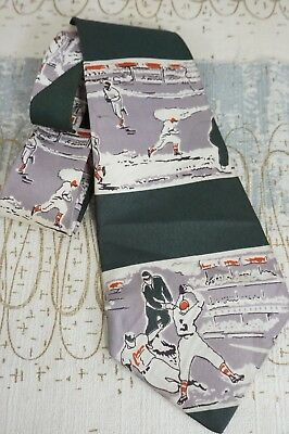 40s Rayon Tie * BASEBALL * Men's Vintage Novelty - Cool Graphics! Deco 30s Swing
