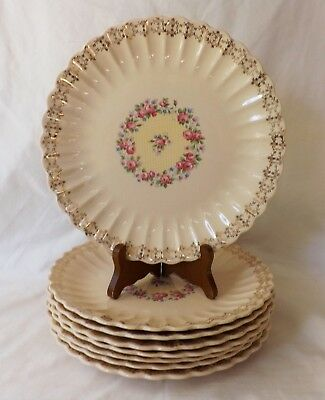 "8 Original Vintage Trojan by Sebring 22-k Gold Chateau 9 1/4"" Dinner Plates"