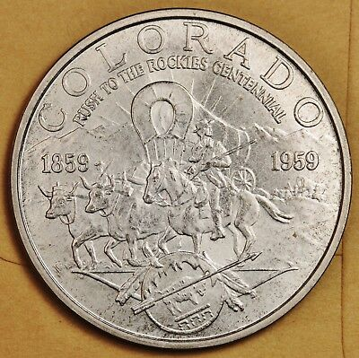 """1959 So-Called Dollar.  HK542 """"Rush to the Rockies"""" Silver Dollar Size.  116451"""