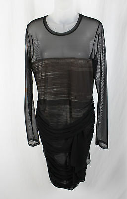 3c422df55d46 BCBG Max Azria Women s Black Long Sleeve Sheer Ruched Dress Size L