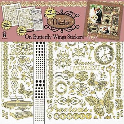 Scrapbooking Dazzles Sticker On Butterfly Wings NEW HOTP 629 Pcs Gold Pearl