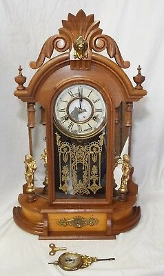 Antique NEW HAVEN Victorian 8 Day OCCIDENTAL Mirrored JENNY LIND MANTLE CLOCK