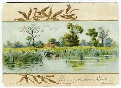 Hildescheimer CHRISTMAS Victorian Greeting Card 1880's Country Cottage River