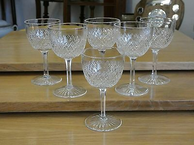 "Six 6 Vintage Stuart Crystal Diamond Strawberry Cut Glasses 4 1/2"" high"