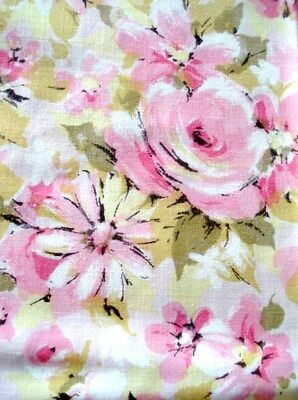 "VTG 2 ""MARVELAIRE By SPRINGMAID"" Pink/Olive Floral 50/50 Pillowcases SHABBY CHIC"