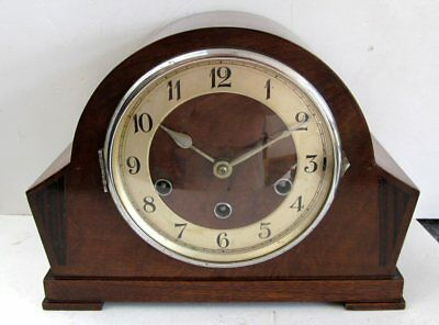 Vintage Art Deco German 'Haller' 8 Day Mantel Clock with Westminster Chimes