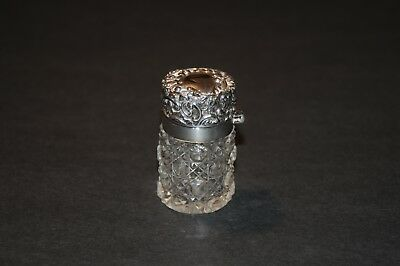 Sterling Silver & Cut Crystal Glass Cologne Bottle