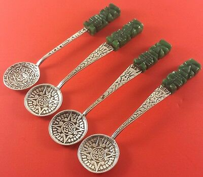 4 Vintage Spoons Mexico Green Onyx (Madein) .925 Sterling Hallmarked 182 In Bell