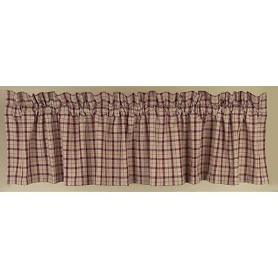 New Rustic Farmhouse Primitive Country BARN RED PLAID VALANCE Window Curtain
