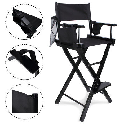 "Professional 30"" Makeup Artist Directors Chair Wood Light Weight Foldable Black"