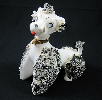 White & Black Poodle Figurine Vintage 1950s Japan Porcelain Spaghetti Trim
