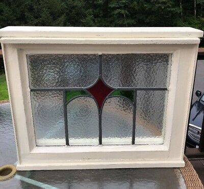 Antique Stained Glass Window Art Deco I Framed Red & Green