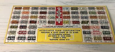 Rare Toledo Ohio Ink Blotter From 1949 Featuring All 50 state license plates