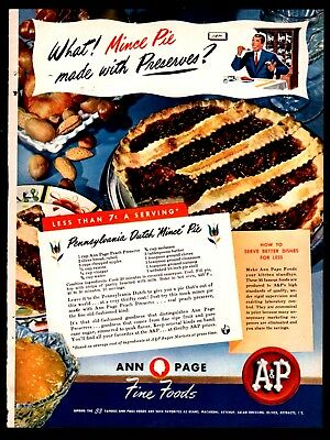 1947 A&P Ann Page Mince Pie Recipe PRINT AD Vintage Food ADVERTISING