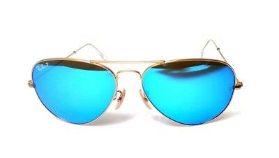 Ray Ban Aviator Pilot Gold/Blue Flash Polarized 58 mm RB 3025 112/4L Large New