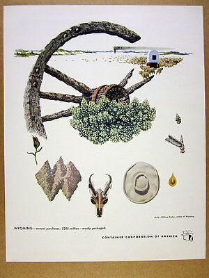1949 Wyoming artist William Traher art CCA Container Corp vintage print Ad
