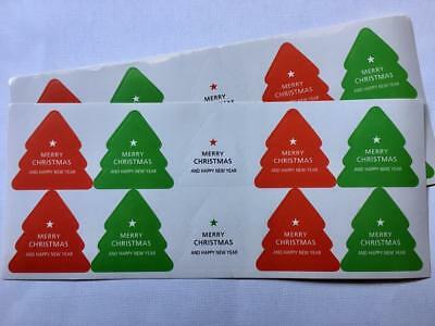 30 LARGE CHRISTMAS TREE STICKERS  4.5cm high labels seals gift treat bags xmas