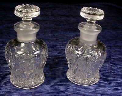 Vintage Pair Of Pressed Glass Crystal Cologne Decanters With Glass Stoppers