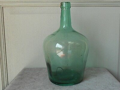 French Antique  Green Glass WINE DEMI JOHN BOTTLE